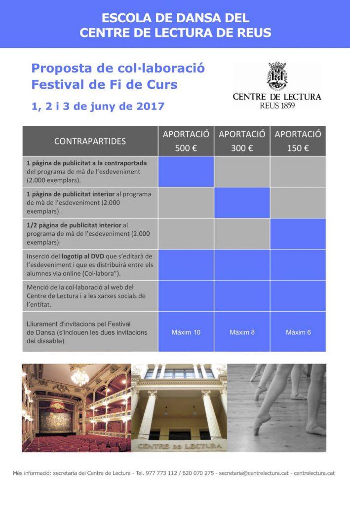 Col·laboració i publicitat al programa del festival de dansa