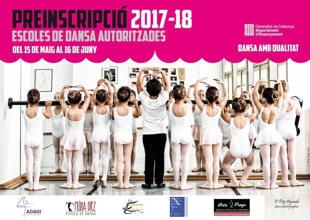 Cartell de preinscripció al curs 2017 2018 de l'Escola de Dansa.