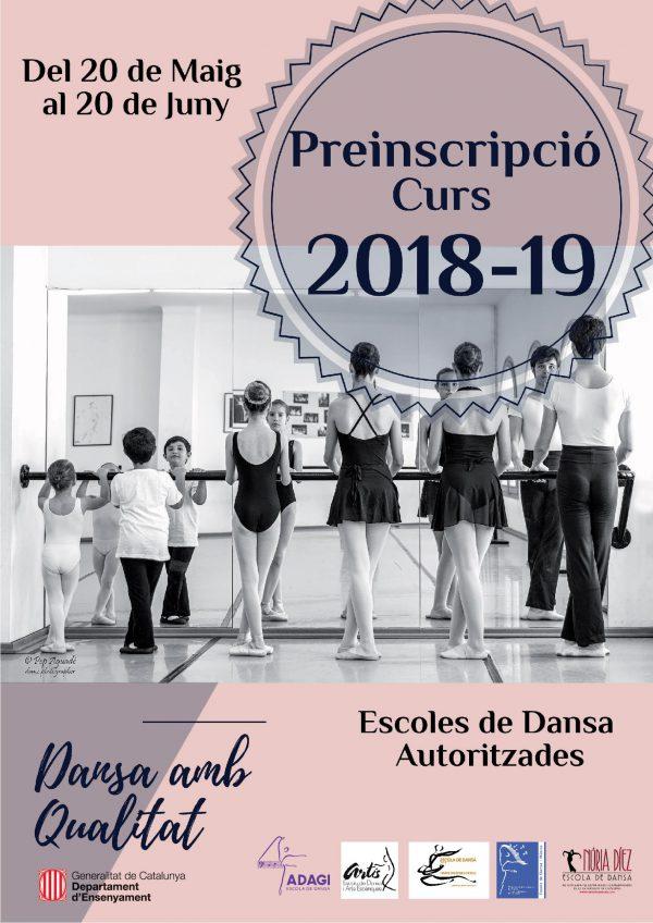 Cartell de les preinscripcions al curs 2018-2019