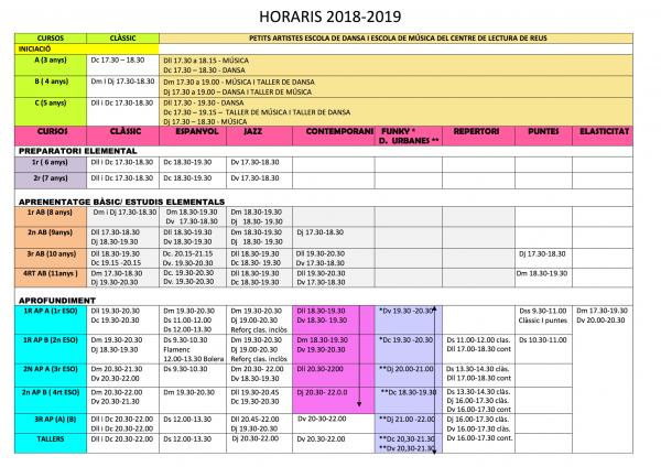 Imatge de la pàgina 1 dels horaris del curs 2018-2019