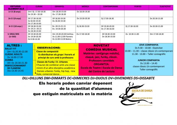Imatge de la pàgina 2 dels horaris del curs 2018-2019